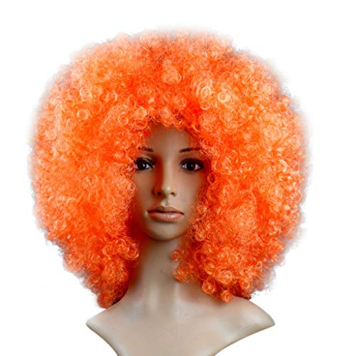 Willsa Fashion Charm Party Disco Funny Afro Clown Hair Football Fan-Adult Afro Masquerade Hair Wig -
