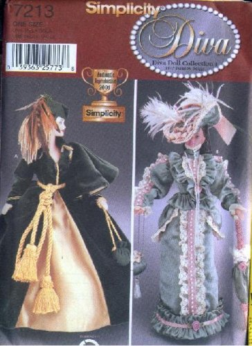 Siimplicity 7213 - 11.5-inch Fashion Doll Clothes - Patterns to Make Scarlett O'hara's Dress and 1880s Dress (DIVA FASHION DOLL CLOTHES I)