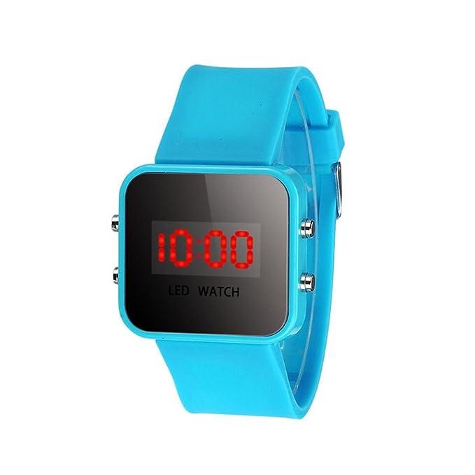 ZARLLE Reloj Coloreado Digital, Pantalla Led Digital Unisex De Silicona Correa Cuarzo Reloj De MuñEca Deporte NiñOs Chica Chico (talla única, Cielo azul): ...