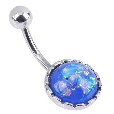 Zibuyu Women Trendy Stainless Steel Belly Navel Nail Punk Body Jewelry(Blue) bdbc55c99bf0