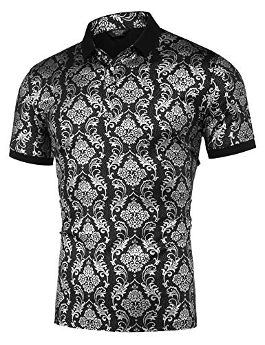COOFANDY Men's Metallic Shiny Print Slim Fit Short Sleeve Floral Party Polo T Shirt