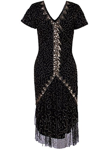 - Vijiv Women's Vintage Style 1920s V Neck Flapper Dresses Beaded Sequin Roaring 20s Great Gatsby Dress Black Gold #2 Medium
