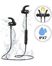 Cuffie Bluetooth, Mpow S10 IPX7 Impermeabili Cuffie Sport con Audio Stereo Hi-Fi, Auricolari Bluetooth da Corsa 8-9 Ore di Gioco, Cuffie Wireless, Auricolari Magnetici per il Jogging, Corsa, Fitness.