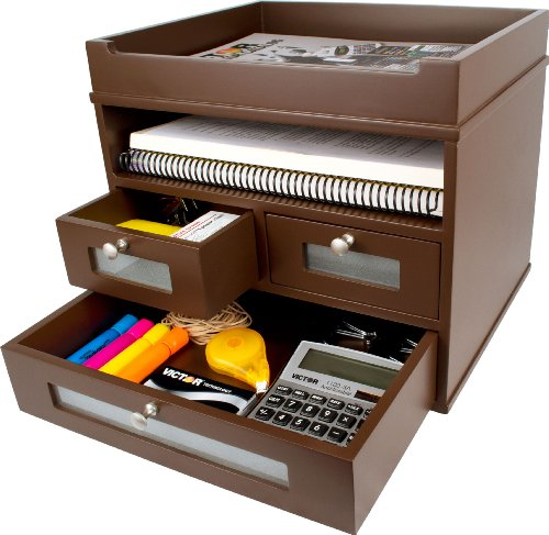 Purpose Wood Organizer Multi Desktop (Victor Wood Tidy Tower Desktop Organizer, B5500 (Mocha Brown))