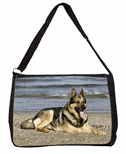 German Shepherd Dog on Beach Large 16 Black School Laptop Shoulder Bag