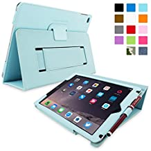 Snugg iPad Air & New iPad 9.7 inch 2017 Case - Smart Cover Case with Kick Stand & Lifetime Guarantee (Baby Blue Leather) for the Apple iPad Air 1 (2013)