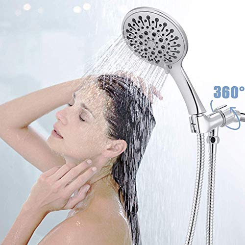 """Androme 4.7"""" Handheld Shower Head With Hose and 6 Spray Settings, Hand held Rain Shower with High Pressure Boosting, Adjustable brass Bracket and Teflon Tape"""