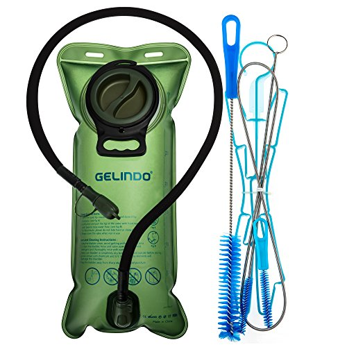 Gelindo Hydration Bladder 3 Liter 100oz, Hydration Bladder Brush, FDA Approved and BPA-Free Hydration Backpack Replacement, Large Opening and Quick Release Insulated Tube with Shutoff Valve