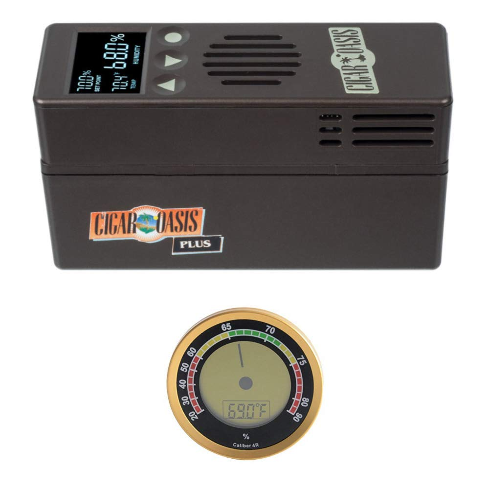 Cigar Oasis Plus 3.0 Electronic Cigar Humidifier with Digital Analog Hygrometer Bundle by Cigar Oasis (Image #1)