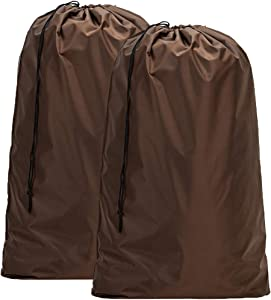 HOMEST 2 Pack Large Nylon Laundry Bag, Machine Washable Large Dirty Clothes Organizer, Easy Fit a Laundry Hamper or Basket, Can Carry Up to 4 Loads of Laundry, Brown