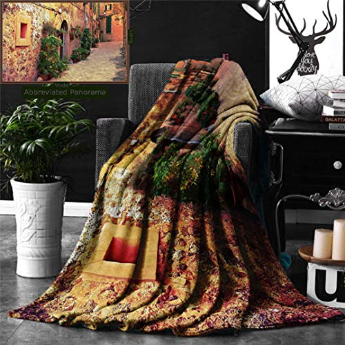 Unique Custom Double Sides Print Flannel Blankets Wanderlust Decor Collection Ancient Street In Valldemossa Village Mallorca Spain V Super Soft Blanketry for Bed Couch, Throw Blanket 60 x 40 Inches by Ralahome
