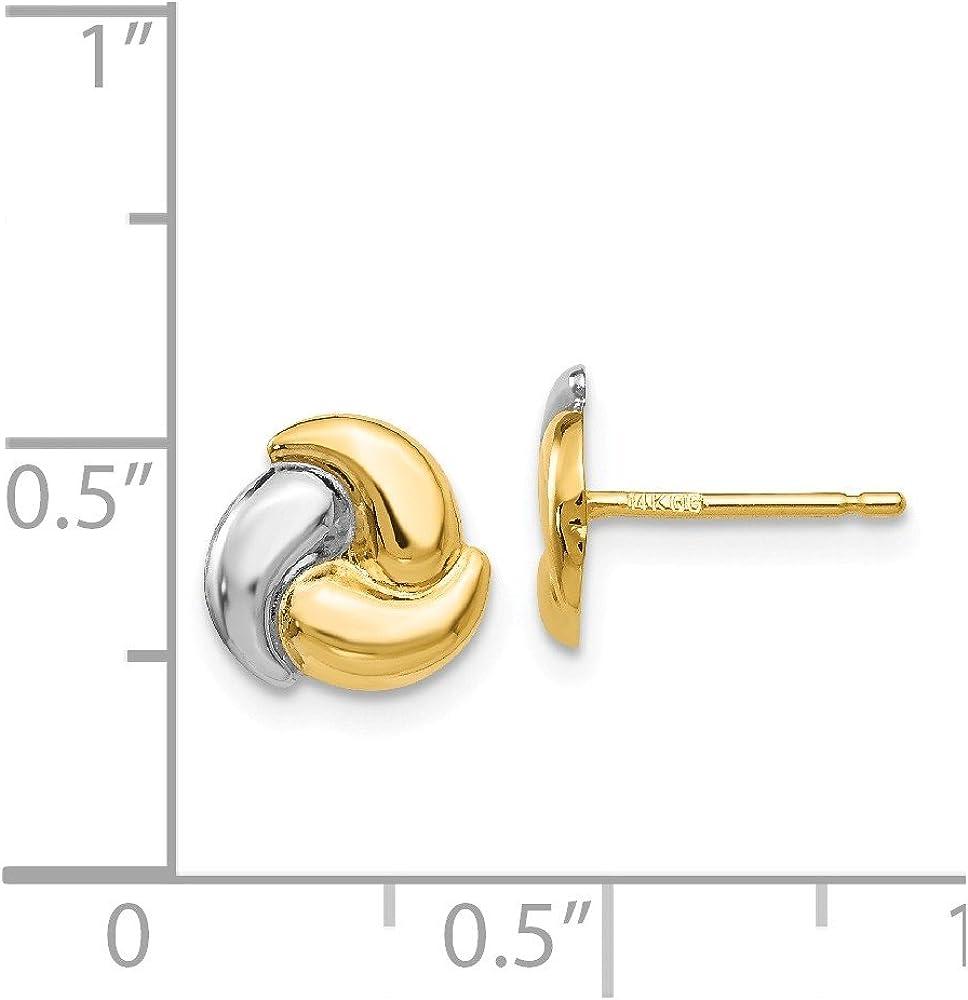 14kt Polished /& Rhodium Fancy Post Earrings