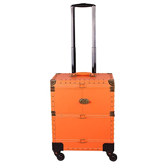 Amazon.com: Vintage Make-up Travel Case PU Leather Lockable Luggage Artist Cosmetic Trolley Train Organiser on 4 Removable Rolling Wheels, Brown: Sports & ...