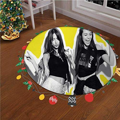 Collage Portrait Two Smiling Brunette Models Photo Christmas Indoor/Outdoor Rug Bathroom Rugs Soft Non Slip Floor Carpet Bedroom Living Room Decorative,okjeff37447o,6.23 ft