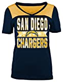 A-Team Apparel NFL San Diego Chargers Women's Short Sleeve Crossover V-Neck Tee, X-Large, Navy