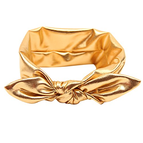 Golden Wrap (Gilroy Baby Girl Gilding Rabbit Ear Headband Stretch Bow Knot Head Wrap -)