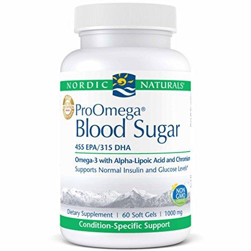 - Nordic Naturals ProOmega Blood Sugar - Fish Oil, 455 mg EPA, 315 mg DHA, 200 ug Chromium, 300 mg Alpha-Lipoic Acid, Supports Normal Insulin and Glucose Levels*, 60 Soft Gels