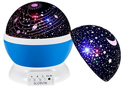 Sternenhimmel Projektor Nachtlicht, SCOPOW Star Moon Deckenprojektor Lampe 360 Grad Drehen 3 Modi Dekorative Stimmung Licht für Kinder Kinder Kinderzimmer Schlafzimmer Bestes Geschenk (blau)