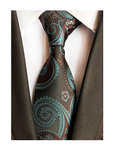 Mens Silk Brown Teal Blue Tie Summer Cool Gentleman Party Self Cravat uk -