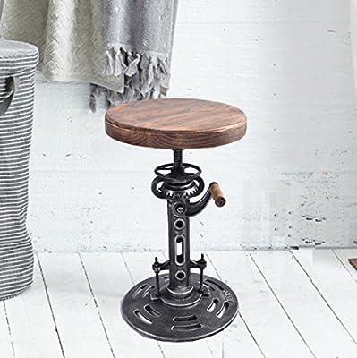 Topower American Antique Industrial DIY crank stool cast iron base bar stool Design Metal Adjustable Height Bar Chair (Wood surface)