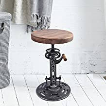 Topower American Antique Industrial DIY Crank Stool Cast Iron Base Bar Stool Design Metal Adjustable Height Bar Chair Wood surface (01#)