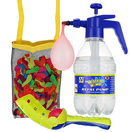 DG SPORTS Pack of 200 Water Balloons Bundle Set - Includes Pump for Quick and Easy Fill Up + Tie Knot Tool + Ball Launcher + Mesh Bag - Awesome - Tie Ball Knot