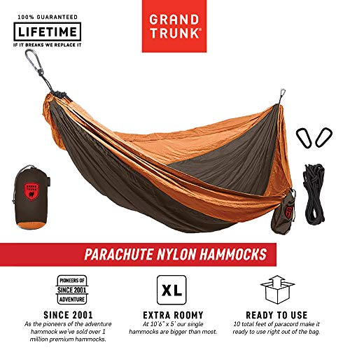Grand Trunk Hammock- Camping Double with Tree Hanging Kit- Hammocks and Travel Gear Pioneers Since 2001 Parachute Nylon, Portable, Indoor Outdoor, Backpacking, Survival, Brown/Mustard ()