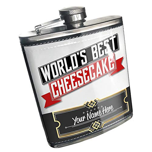 Neonblond Flask Worlds Best Cheesecake Custom Name Stainless Steel