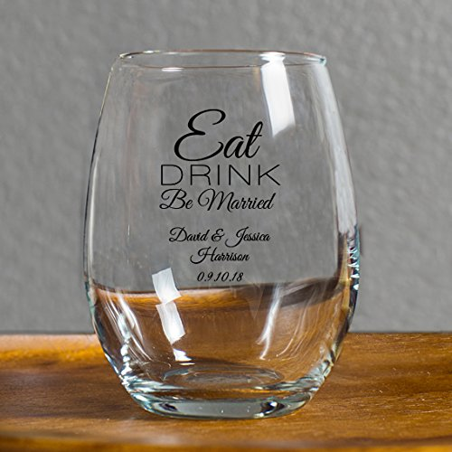 Personalized Eat Drink Be Married 9 Ounce Wine Glass, 72 Count Custom Printed in Black, Bride to Be Wedding Reception Surprise by customgift