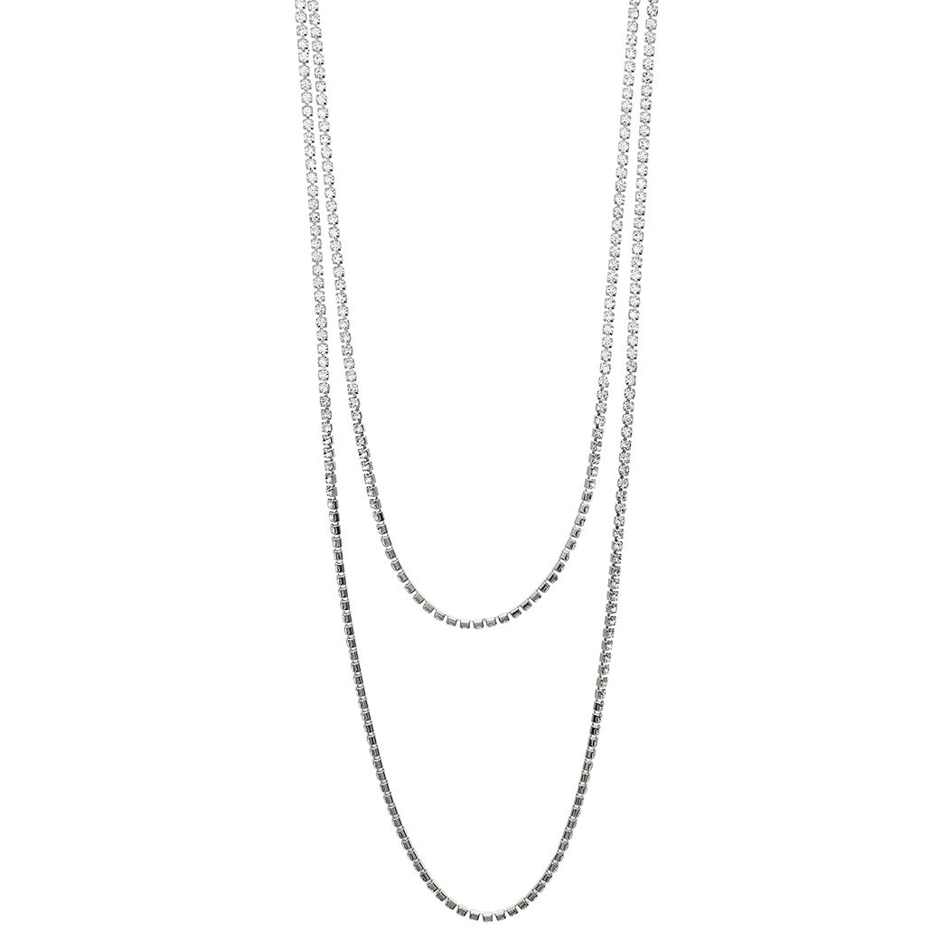 Rosemarie Collections Women's 60'' Crystal Rhinestone Strand Long Necklace (Silver Tone) by Rosemarie Collections