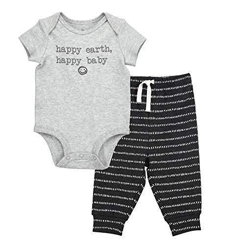 Oliver & Rain - Organic Happy Baby Short Sleeve Bodysuit and Dash Stripe Pants Outfit Set, Grey/Black Heather, 3M (Body Dash Black)