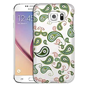 Samsung Galaxy S6 Case, Slim Snap On Cover Green Paisley on White Case