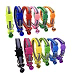 PACCOMFET 12 Pcs Breakaway Cat Collar Nylon Reflective Cat Collar with Bell, Multicolor, Safe and Durable 9