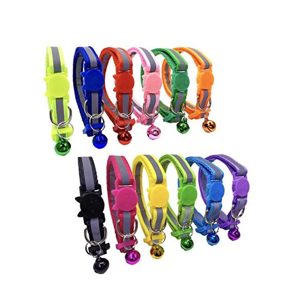 PACCOMFET 12 Pcs Breakaway Cat Collar Nylon Reflective Cat Collar with Bell, Multicolor, Safe and Durable 3