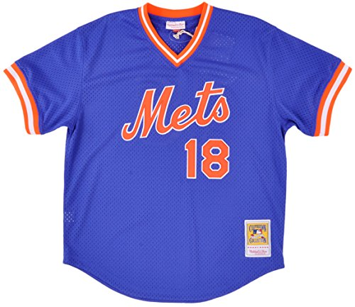 Mitchell & Ness Men's New York Mets Darryl Strawberry #18 Mesh Batting Practice Jersey Small Blue (Mlb Jersey Practice Batting)