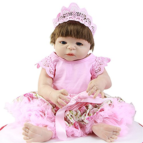 Synthetic Mohair (Soft 23 inches 57cm Reborn Baby Dolls with Mohair or Synthetic Hair Dressed Pink Skirt Lifelike Full Silicone Dolls Xmas Girl Gifts Birthday Christmas Holiday Gift Reduce Anxiety Help Autism Pregnant)