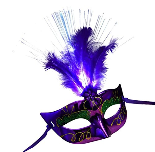 Gloous 2017 Women halloween LED Fiber Mask Masquerade Fancy Dress Party Princess Feather Masks (Purple)