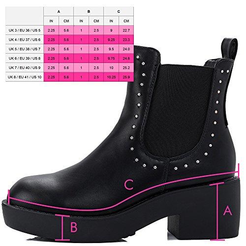 SPYLOVEBUY SPYTER Damen Blockabsatz Chelsea Boots Stiefeletten Schwarz - Synthetik Kunstleder
