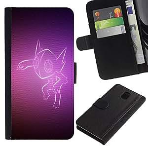All Phone Most Case / Oferta Especial Cáscara Funda de cuero Monedero Cubierta de proteccion Caso / Wallet Case for Samsung Galaxy Note 3 III // Purple Fox