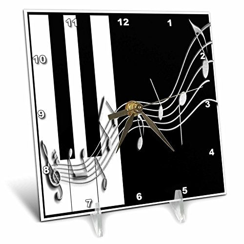 3dRose dc_24372_1 Silver Music Notes on Piano Keys Desk Clock, 6 by 6-Inch