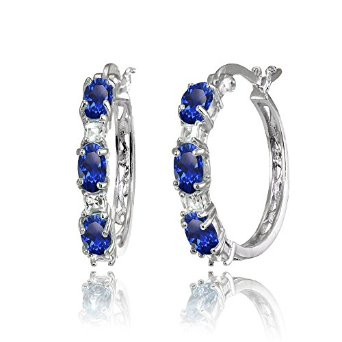 Sterling Silver Oval Created Blue Sapphire & Princess-cut White Topaz Filigree Hoop Earrings