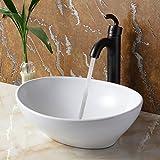 ELITE Bathroom Egg White Ceramic Porcelain Vessel Sink & Oil Rubbed Bronze Finish Single Lever Faucet