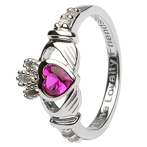 - JULY Birth Month Silver Claddagh Ring LS-SL90-7 - Size: 9 Made in Ireland.