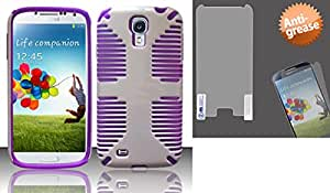 Combo pack For Samsung Galaxy S4 i9500 - PC+SC HYBRID 1 Cover - Purple HYB1 And MYBAT Anti-grease LCD Screen Protector/Clear for SAMSUNG I337 (Galaxy S 4)