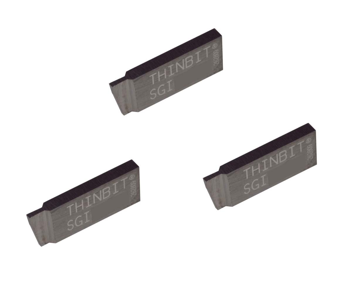 3 Pack SGI031D2.031 Width.093 Depth, Uncoated Carbide, Sharp Corner, THINBIT Grooving Insert for Steel, cast Iron and Stainless Steel with Interrupted cuts by LITTLEBIT
