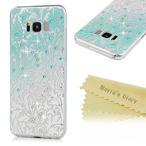 S8 Plus Case,Mavis's Diary Luxury 3D Handmade Bling Sparkle Crystal Rhinestone Diamonds Hollow Design Gradient White Blue Floral Full Edge Protection Transparent Hard PC Case Made for Galaxy S8 (Diamond Bling Hard Case)