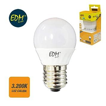 BOMBILLA LED ESFERICA E27 7W 650LM 3.200K EDM