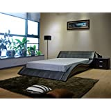 Greatime Wave-like Shape Upholstered Bed Black Black Finish California King