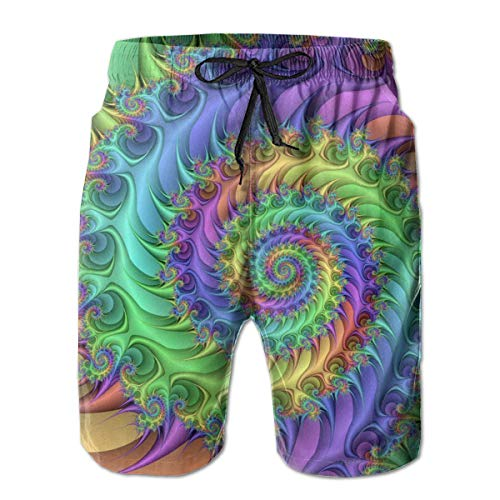 (HeeJiong Colorful Art Style Tie Dye Leisure Sport Fitness Quick-Drying Men's Shorts Beach Shorts Swim Trunks Run Breathable Sweat Absorption)