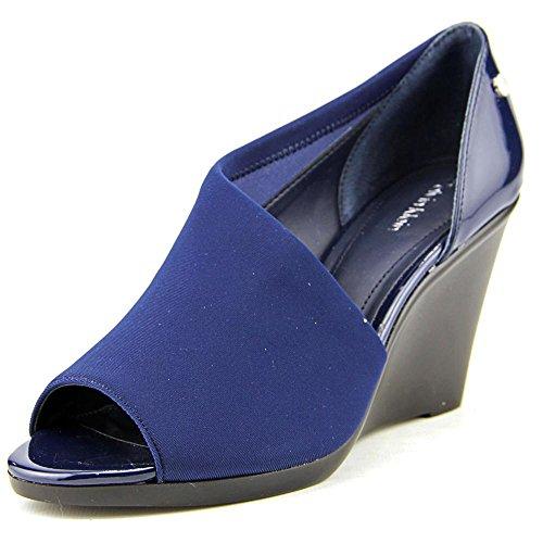 Calvin Klein Donna Lanai Scuba Brevetto Peep Toe Classico Pompe Navy